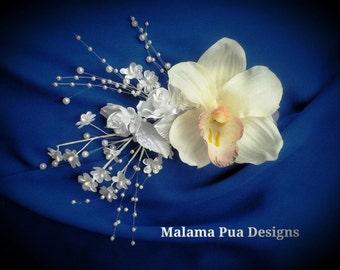 BRIDAL HEADPIECE, Wedding Hair Accessory, Ivory White Orchid, Tropical Hair Clip, Silk Flower, Hair clip, Headpiece, Pearl Spary,Beach Bride