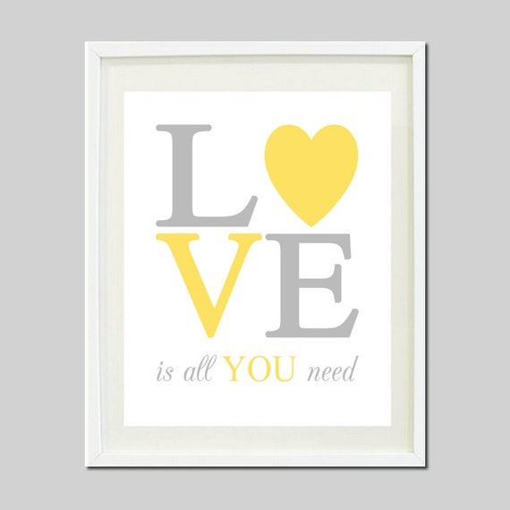 Love is all you need yellow gray grey nursery by for Art sites like etsy