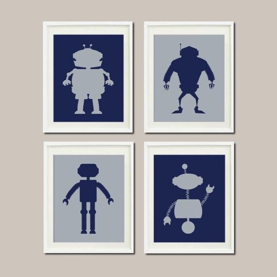 Robot nursery art baby boy nursery decor by lovelyfacedesigns for Robot baby room decor