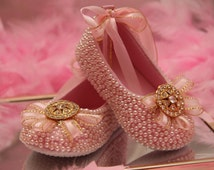 Baby Girl Dress Shoes hand embellished with rhinestones