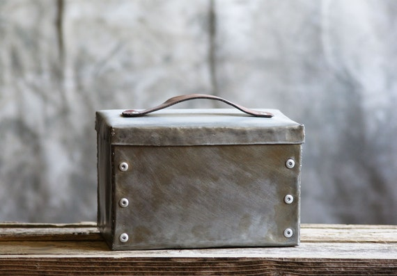 Industrial Steel Box with Leather Strap Handle