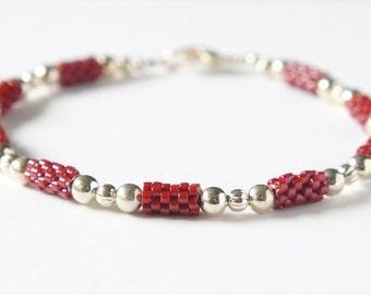 Seed Bead Bracelet, Stacking Bracelet, Beaded Bracelet, Peyote Bracelet, Delica Bracelet, Brick Red Bracelet, Seed Bead Tubes Bracelet