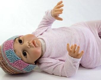 KNITTING PATTERN, Baby Hat Knitting Pattern, Domino Border, Baby Hat,  Baby Beanie, Baby Knit Hat Pattern in 3 Sizes, PDF