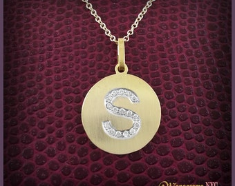Diamond initial etsy 14kt gold diamond initial discgold initial diskdiamond initial necklace gold mozeypictures Image collections