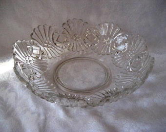 Vintage decorative clear glass bowl, large decorative bowl, 984