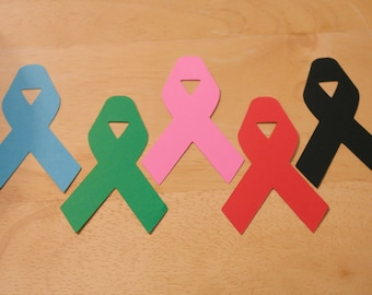 Cancer Ribbon Cut Outs (Various Sizes and Colors Available)- Fast Shipping