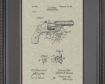 Smith-&-Wesson Revolver Patent Artwork Shooter Gun Collector Gift W5117
