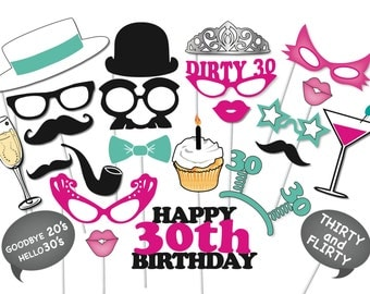 30th Birthday Photobooth Party Props Set - 26 Piece PRINTABLE - thirtieth birthday party Photo Booth Props