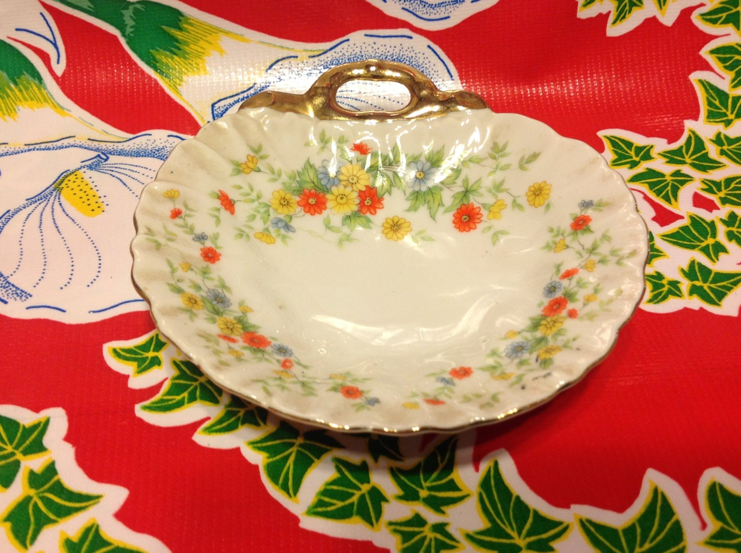 Vintage Lefton China Hand Painted Small Flowered Dish With