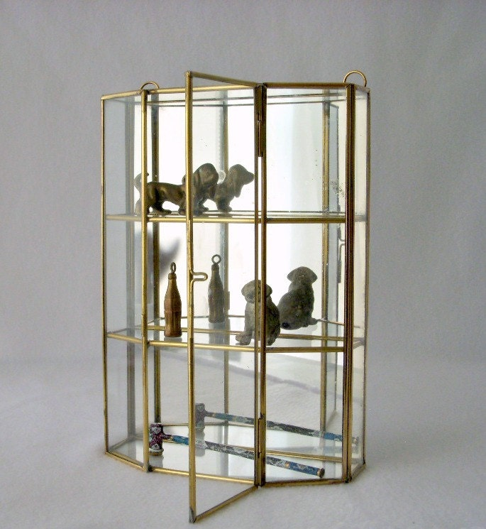 Vintage Glass And Brass Mirrored Cabinet Wall Curio Miniature