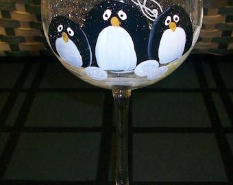 Hand Painted,Penguin Trio wine glasses, set of 4