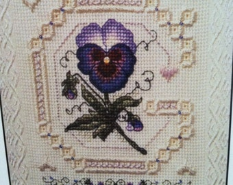 Calico Crossroads, Spring bellpull.  A counted thread design by Linda Connors.
