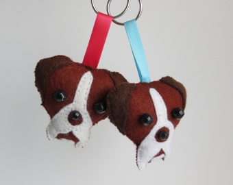 Boxer dog hand sewn felt keyring