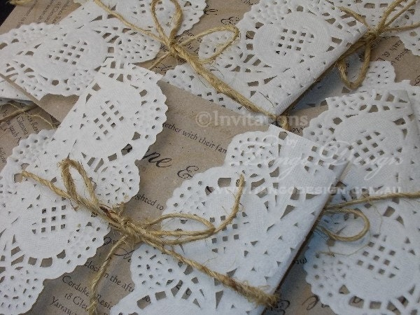 Doily Wrapped Wedding Invitations with luxury invitation design