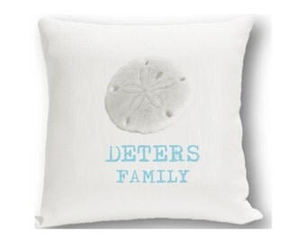 Sand Dollar Personalized Throw Pillow - By the Sea Personalized Decorative Pillows (1201)