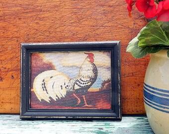 Print of  a Large Rooster  Framed in a Vintage Black Frame