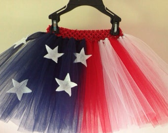 4th of july tutu and matching bow - 4th of july costume - 4th of july outfit - 4th of july skirt