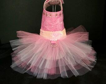 Pink Sparkler! Dog Dress, Dog TuTu, Dog Harness, Wedding Dress,  Harness Dress, Pet Clothes, Couture Dog Dress, Cat Dress.