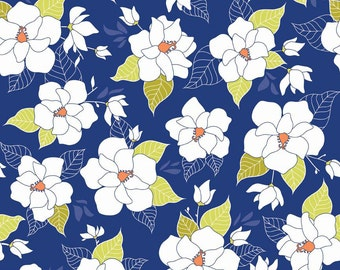Magnolia Fabric - Lula Magnolia Main by Quilted Fish for Riley Blake Designs C3770 Blue - 1/2 Yard