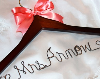 Wedding hanger,  wedding dress hanger,  bride hanger,  bridal hanger,  custom hanger,   personalized hanger,  Mrs wedding hanger,  hanger
