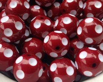 20mm Burgundy Deep Crimson Red Polka Dot Chunky Necklace Bead