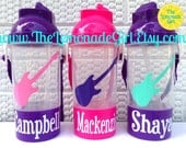 PERSONALIZED Sippy Cup, Personalized Water Bottle, Guitar Birthday Party Favor, Rock Star Party Favor, Kids Party Favor, Lot of 15