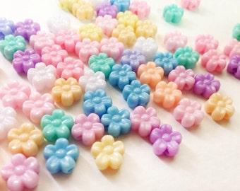 200 pcs Tiny Flowers mix colors plastic pastel beads ( Type 2)
