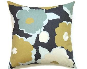 Sofa Pillow, 16x16 Pillow Cover, Decorative Pillow, Accent Pillow, Cushion Cover, Pillow Covers, Robert Allen Top Floral Charcoal