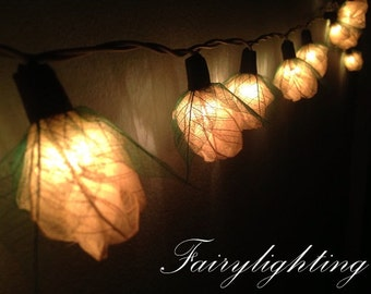 35 White Rose Flower Fairy Lights String  Hanging Wedding Gift Party Patio Wall Floor Home Decor