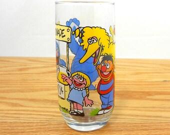 Vintage Sesame Street glass - cup - Big Bird - Grover - Cookie Monster - Ernie - Prairie Dawn