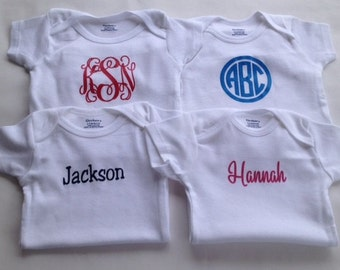 FOUR Monogram Bodysuits - Personalized Bodysuits - Baby Shower Gifts - Baby Gift - Monogram Baby Clothes - Baby Boy - Baby Girl
