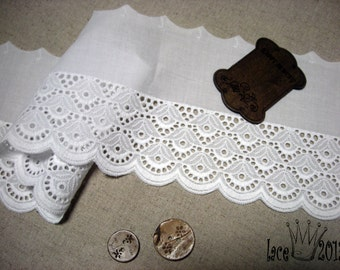 """1Yds Broderie Anglaise Eyelet lace trim 4.3""""(11cm) white YH1467 laceking2013"""