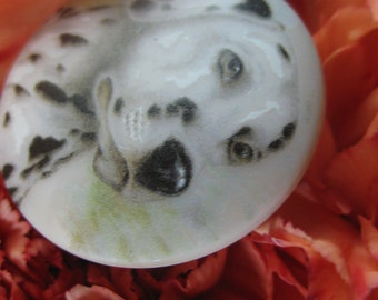 Dalmatian Czech Glass Picture Button 36mm