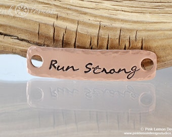 Run Strong - Running Shoe Tag for Runners - Marathon Jewelry - Half Marathon - Ultras, 26.2, 13.1, 5k, 3.1 - Copper - Pink Lemon Design