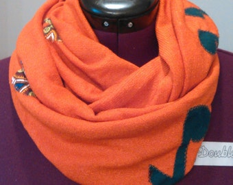 Orange Music Notes Infinity Scarf