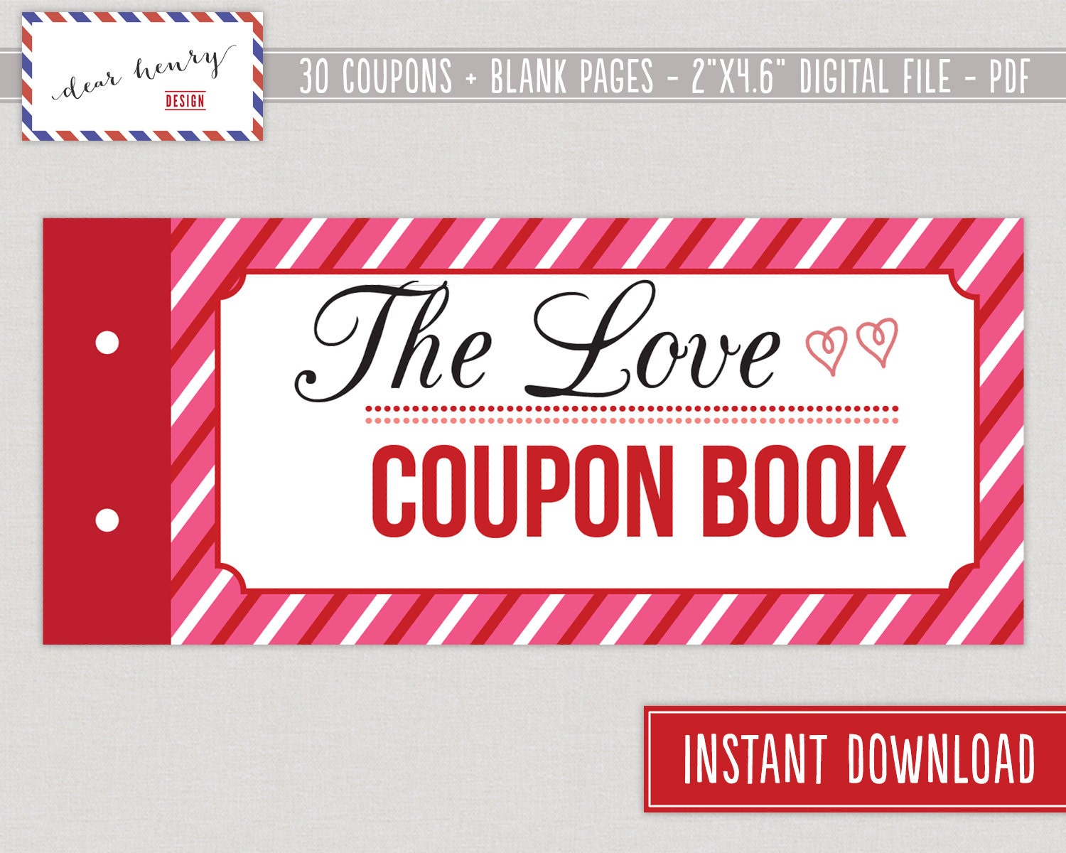 Love Coupons Valentines Day Coupon Book Romantic – Free Printable Valentine Cards for Husband