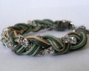 Friendship braided rhinestone layering arm party bracelet