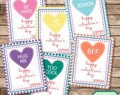 Candy Hearts Valentine's Cards for Kids Printable File - TeenyTinyPrintables