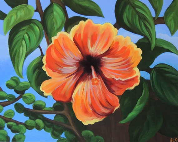 Items similar to hibiscus original acrylic painting for Bright flower painting