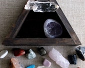 crystal and mineral instant collection in handmade wood triangle box