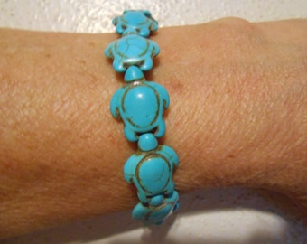 """7"""" inch BRACELeT  BLuE CHALK TURQUOISE TURTLE shaped Stone Beads 14mm wide"""