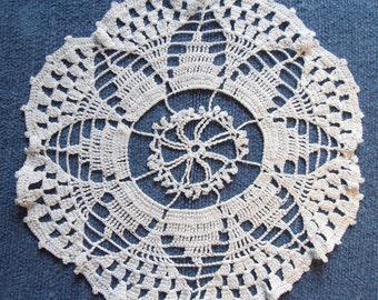 White crochet Dollie from very fine cotton yarn 27 cm diameter