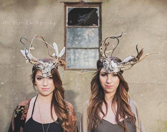 Woodland Antler Headpiece, Stag Headpiece, Natural Feather Headdress, Animal Headpiece, Carnival