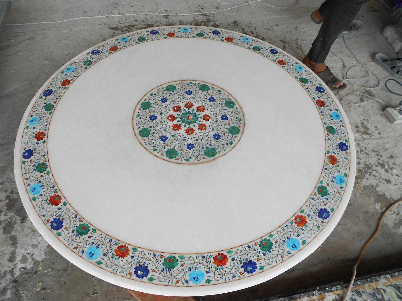 Round Dining Table Marble Inlay Foyer Tables Antique Marquetry