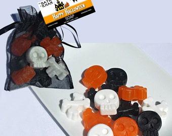 Halloween Party Favors - Halloween Soap, Halloween Decor, Skull & Crossbones, Halloween Party Favors, Candy Corn - 12 Piece Soap Gift Set