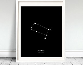 Gemini Astrological Constellation Art Print  - Printable - Instant Download