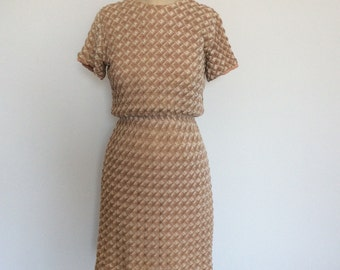 Vintage 60s style knit dress with textured pattern