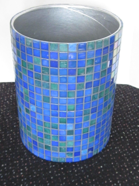glass tile wastebasket bedroom bathroom by nerdgirlfriendhome creative table trash can mini shake cover living room