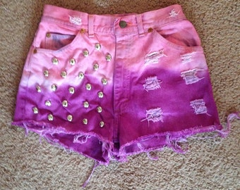 High waisted shorts SALE dip dyed / ALL SIZES