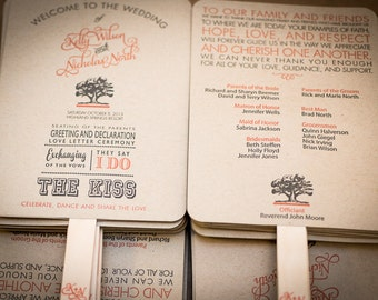 DIY - Wedding Program Fan Kit, Order of Service Fan, Wedding Program Fans, Kraft Paper Wedding Program